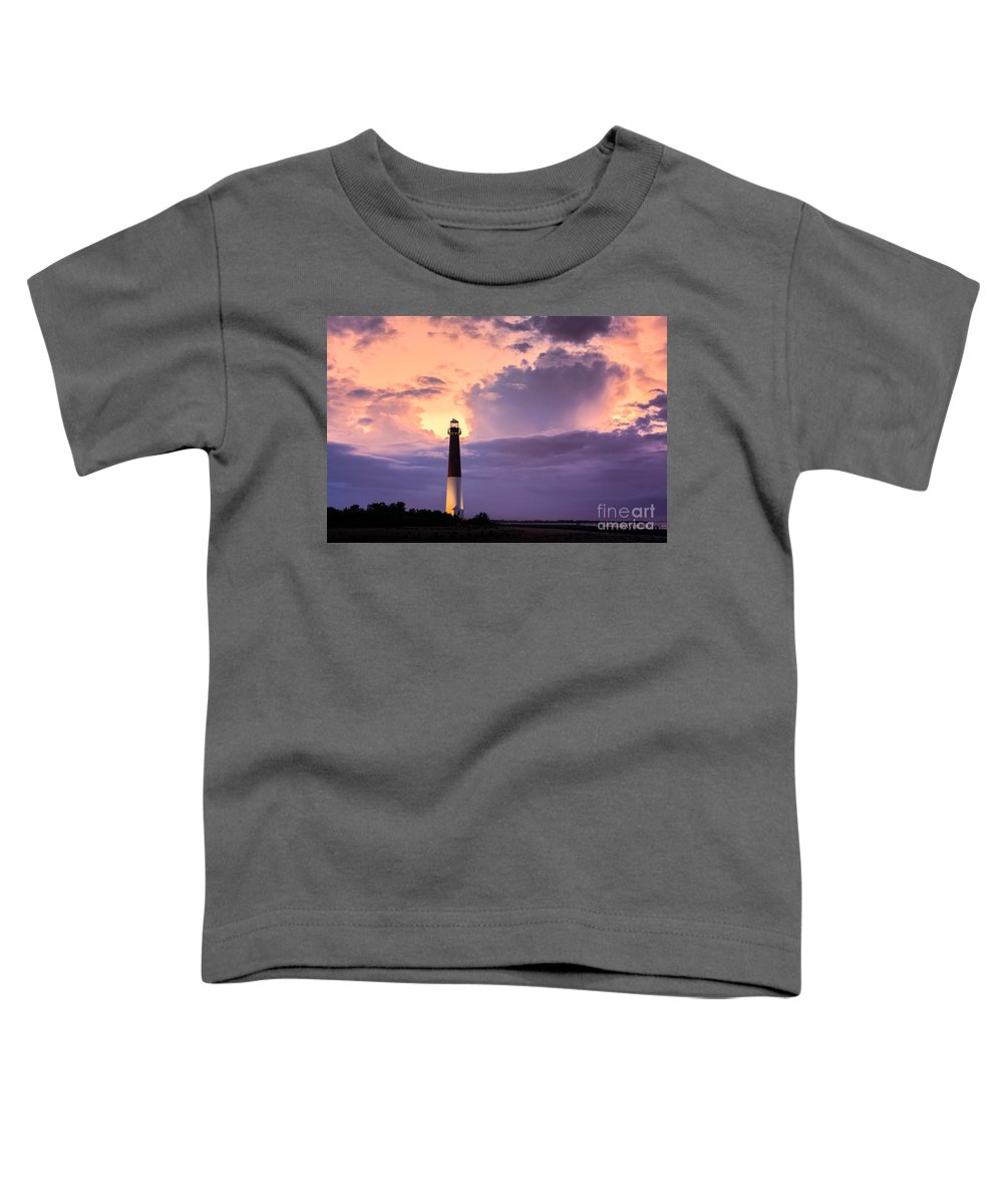 Cloudy Toddler T-Shirt featuring the photograph Moody Sunset At Barnegat Lighthouse by Michael Ver Sprill