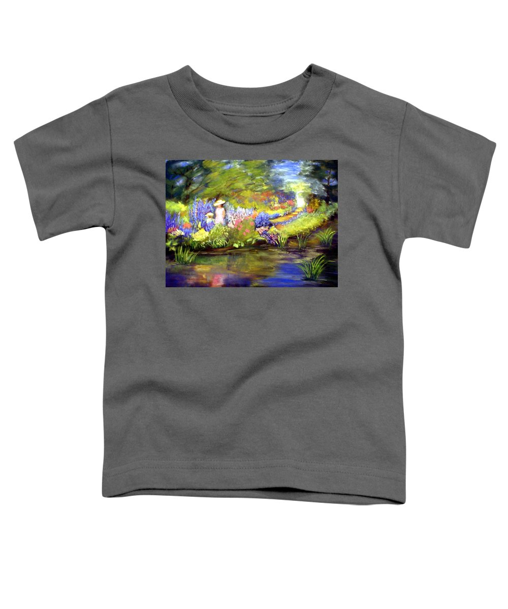 Flower Garden Toddler T-Shirt featuring the painting Mother And Daughter by Gail Kirtz
