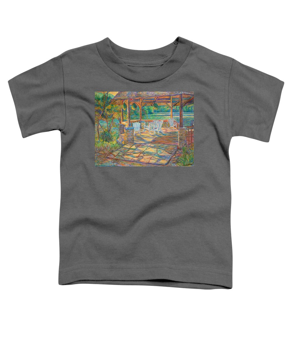 Lake Toddler T-Shirt featuring the painting Mountain Lake Shadows by Kendall Kessler