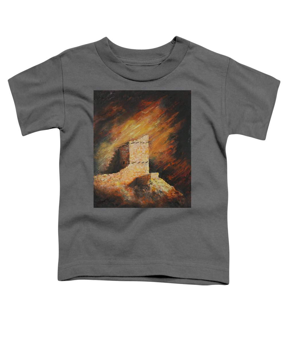 Anasazi Toddler T-Shirt featuring the painting Mummy Cave Ruins 2 by Jerry McElroy