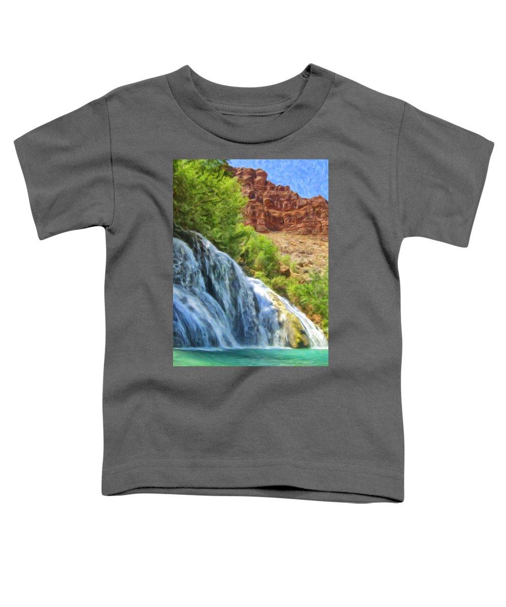 Navajo Falls Toddler T-Shirt featuring the painting Navajo Falls by Dominic Piperata