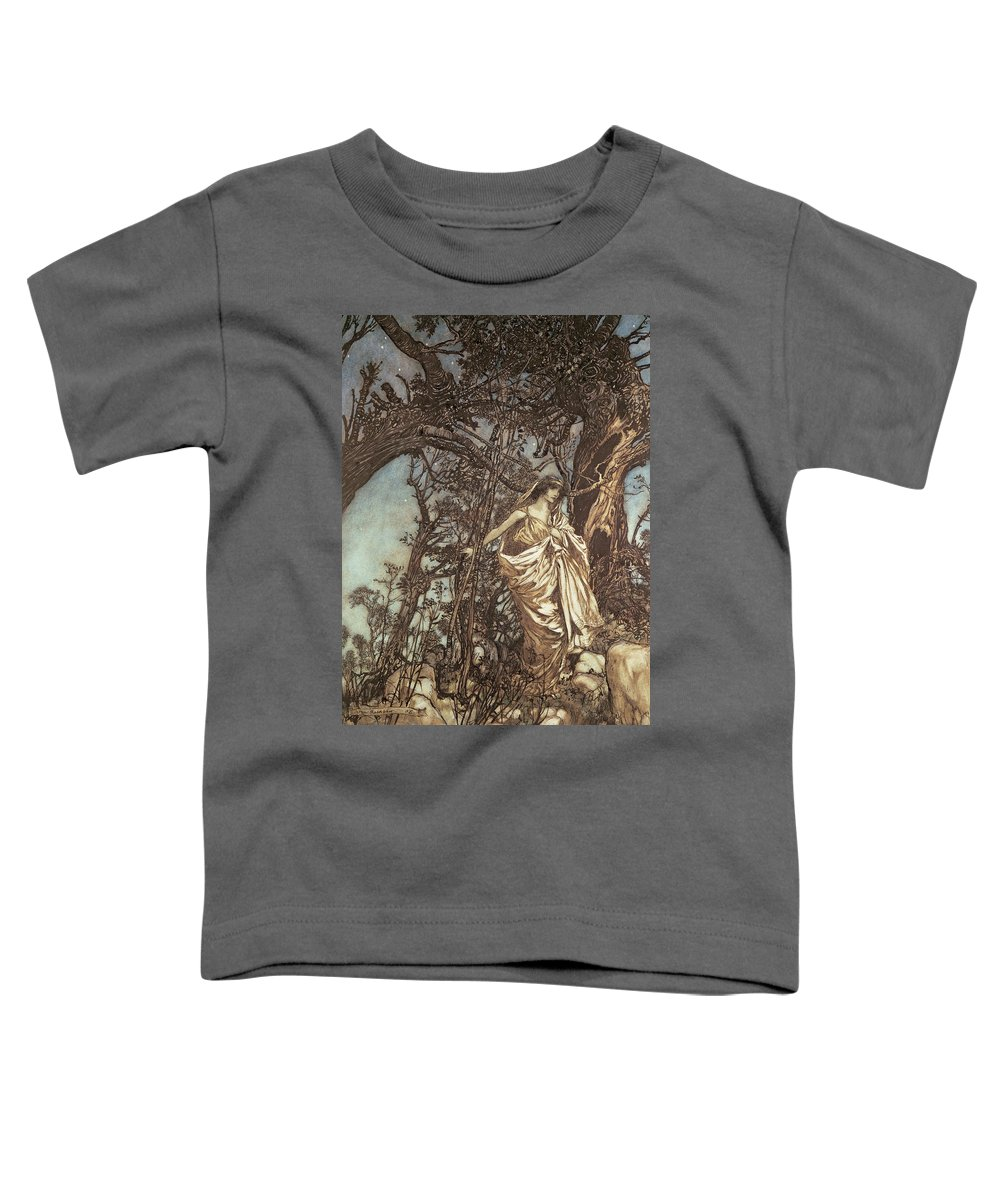 Hermia Toddler T-Shirt featuring the drawing Never So Weary Never So Woeful Illustration To A Midsummer Night S Dream by Arthur Rackham