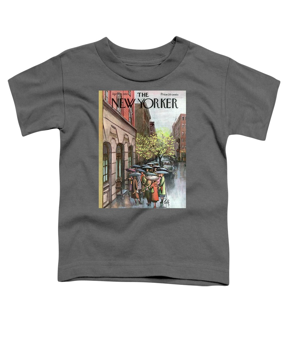 Urban City Manhattan New York City Skyscraper Skyscrapers   Skyline Cityscape River Brooklyn Bronx Queens Staten Island Uptown Upper West East Side Rain Raining Shower Umbrella Storm Weather Arthur Getz Agt Sumnerok Artkey 49194 Toddler T-Shirt featuring the painting New Yorker April 21st, 1951 by Arthur Getz