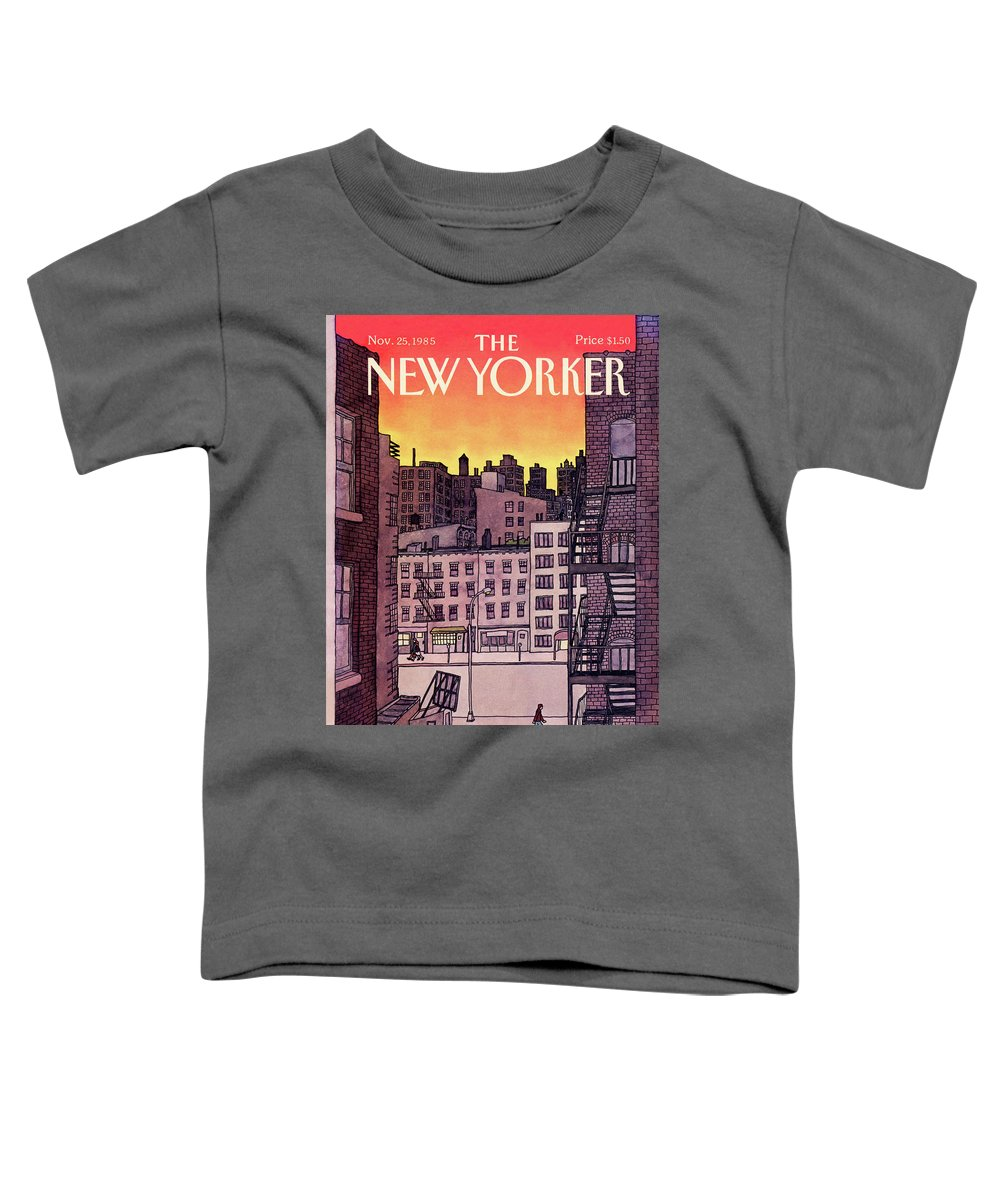 New York City Toddler T-Shirt featuring the painting New Yorker November 25th, 1985 by Roxie Munro