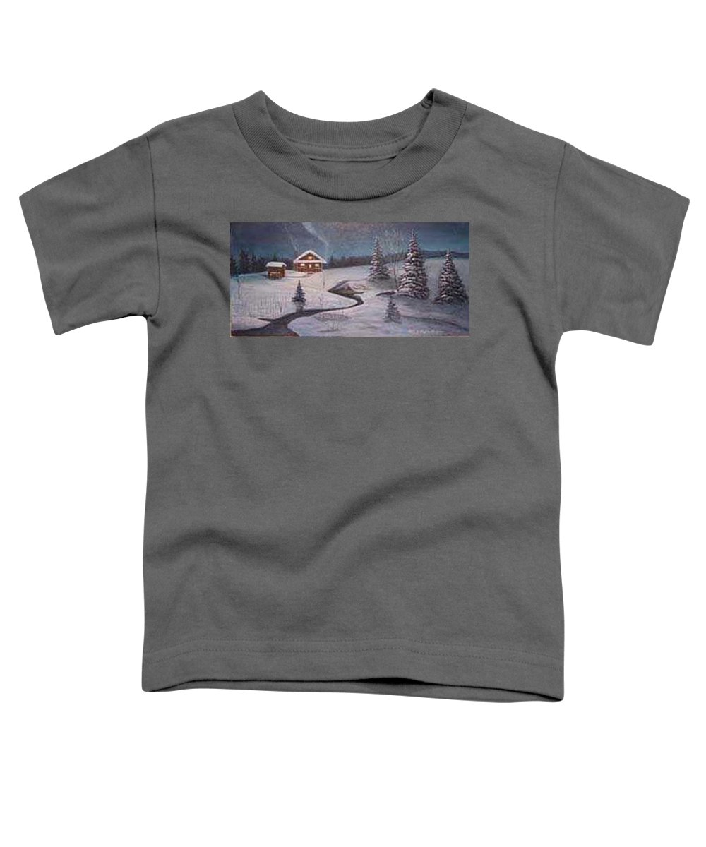Rick Huotari Toddler T-Shirt featuring the painting North Woods Cabin by Rick Huotari