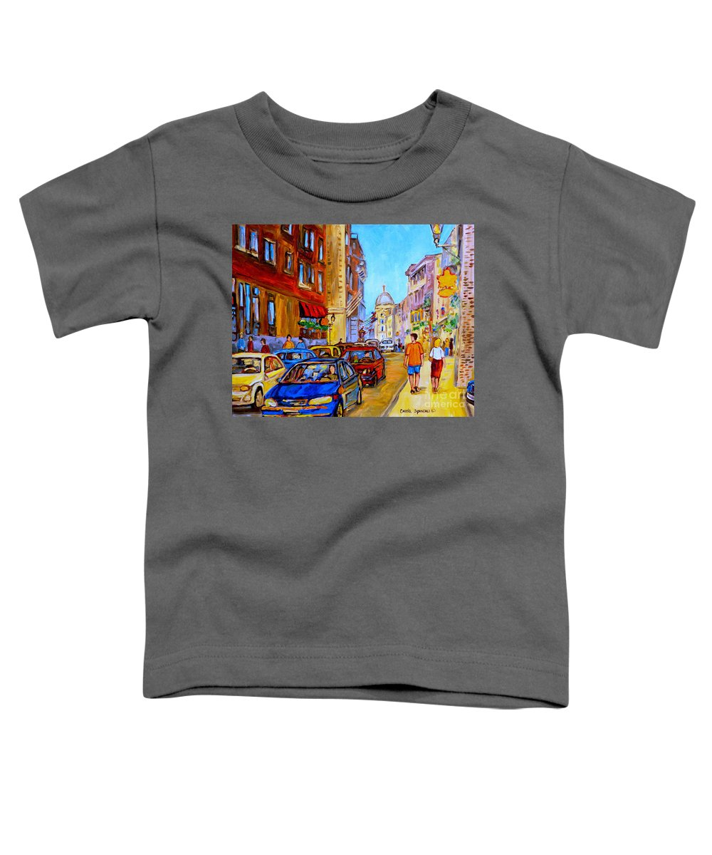 Old Montreal Street Scenes Toddler T-Shirt featuring the painting Old Montreal by Carole Spandau