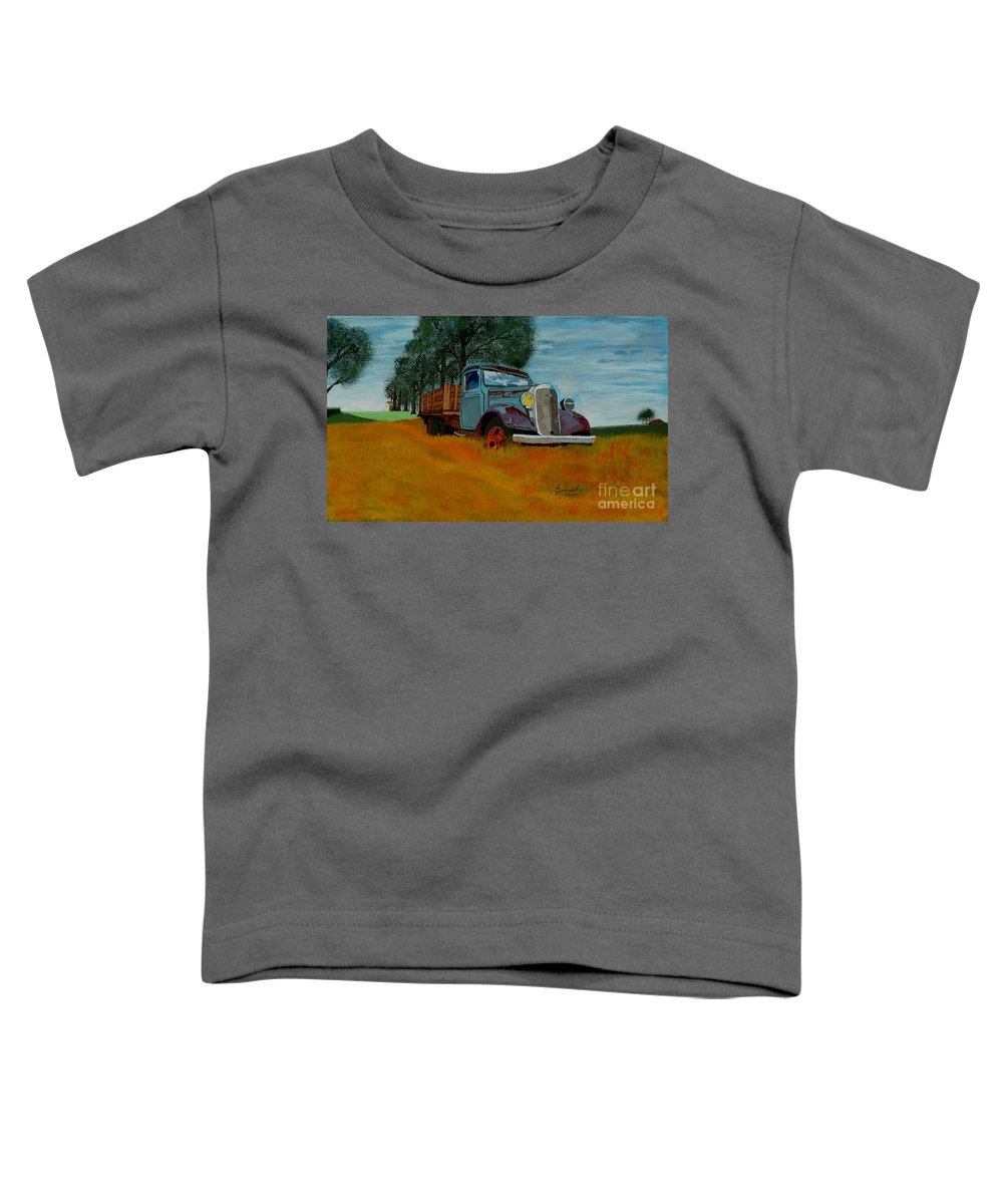 Truck Toddler T-Shirt featuring the painting Out To Pasture by Anthony Dunphy