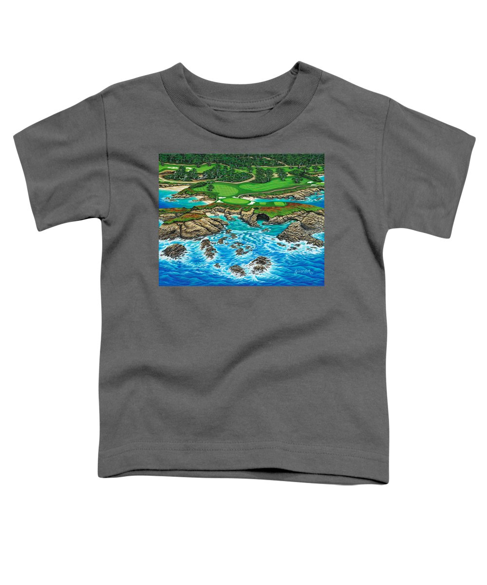 Ocean Toddler T-Shirt featuring the painting Pebble Beach 15th Hole-north by Jane Girardot