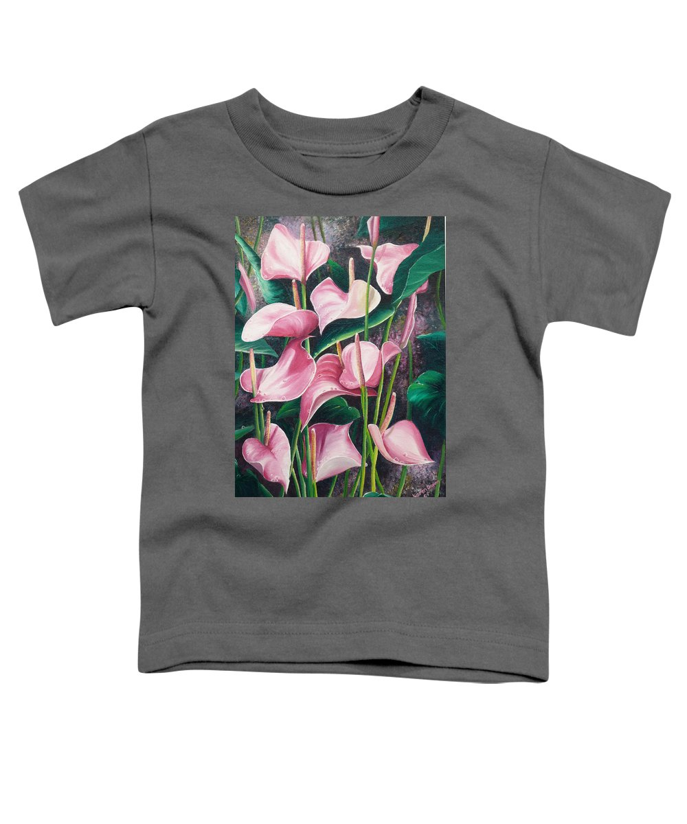 Floral Flowers Lilies Pink Toddler T-Shirt featuring the painting Pink Anthuriums by Karin Dawn Kelshall- Best