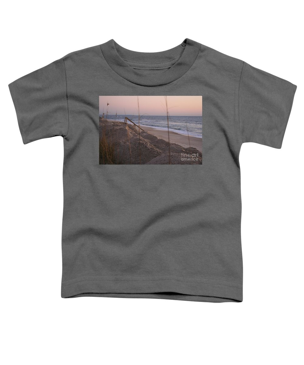 Pink Toddler T-Shirt featuring the photograph Pink Sunrise On The Beach by Nadine Rippelmeyer
