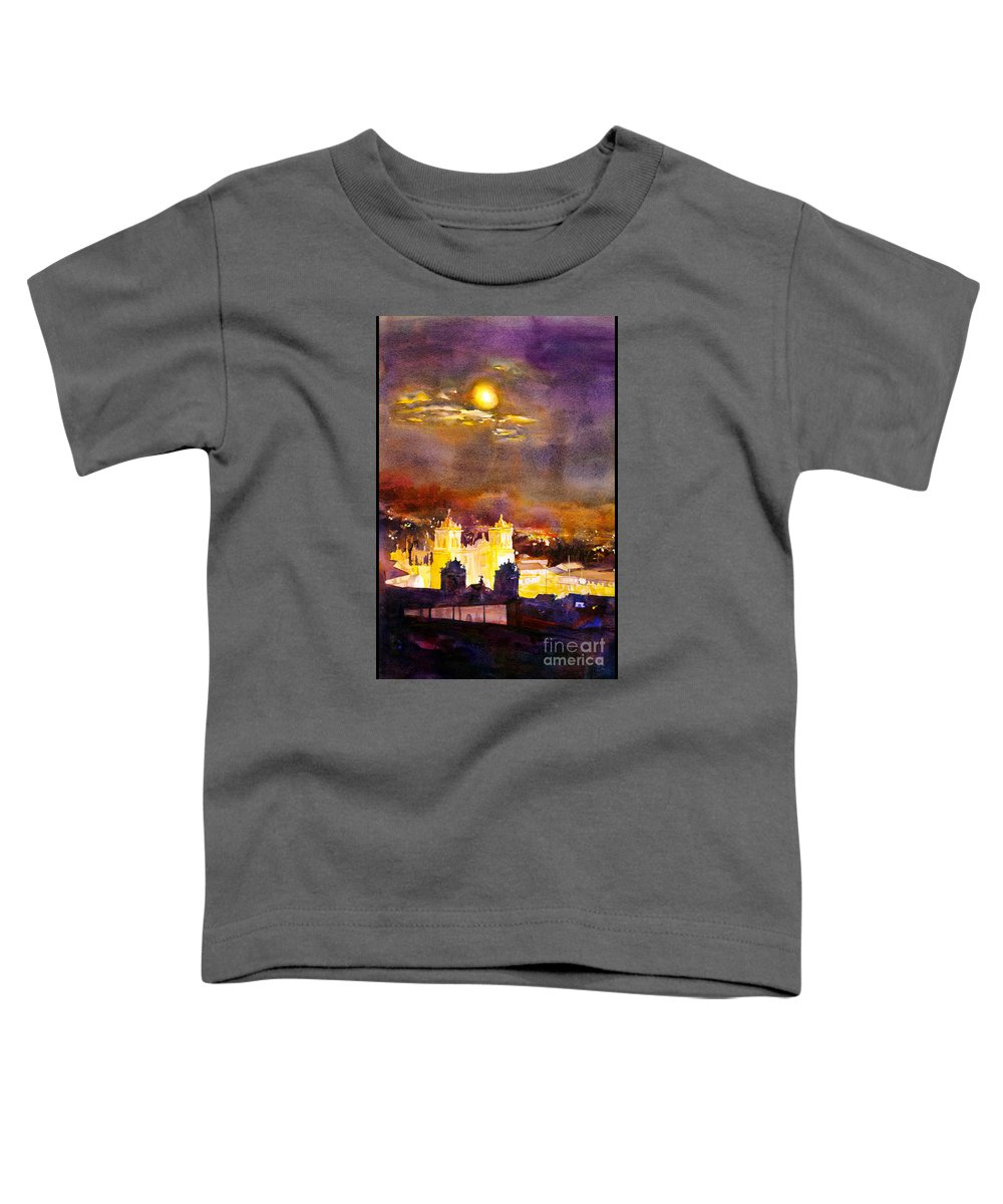 Cathedral Toddler T-Shirt featuring the painting Plaza De Armas- Cusco by Ryan Fox