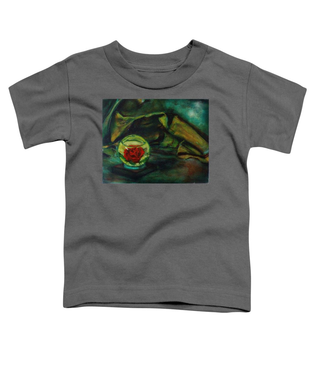 Still Life Toddler T-Shirt featuring the painting Preserved Rose . . Draped Canvas by Sean Connolly