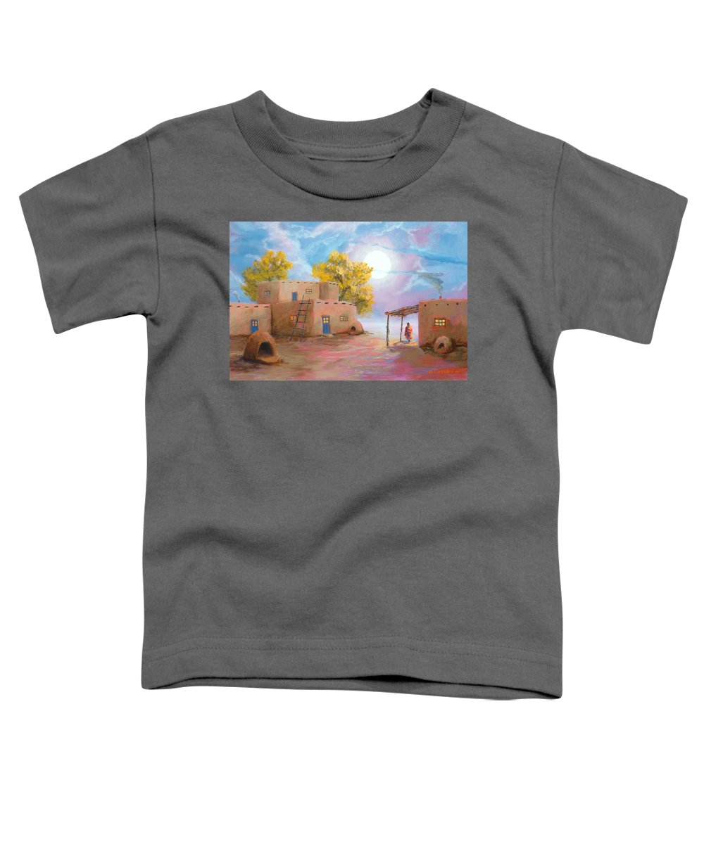Pueblo Toddler T-Shirt featuring the painting Pueblo De Las Lunas by Jerry McElroy