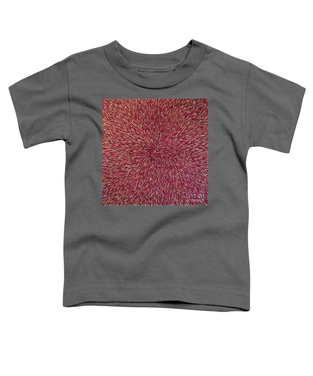 Abstract Toddler T-Shirt featuring the painting Radiation With Brown Magenta And Violet by Dean Triolo