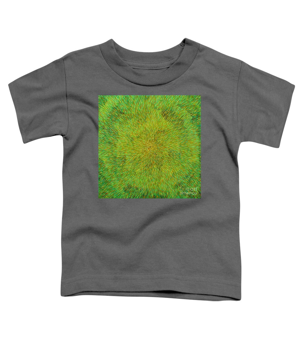 Abstract Toddler T-Shirt featuring the painting Radiation With Green Yellow And Orange by Dean Triolo