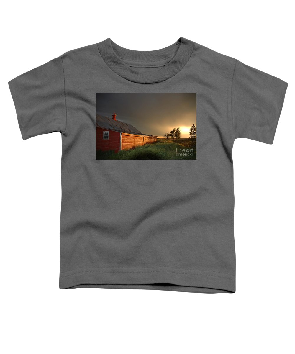 Barn Toddler T-Shirt featuring the photograph Red Barn At Sundown by Jerry McElroy
