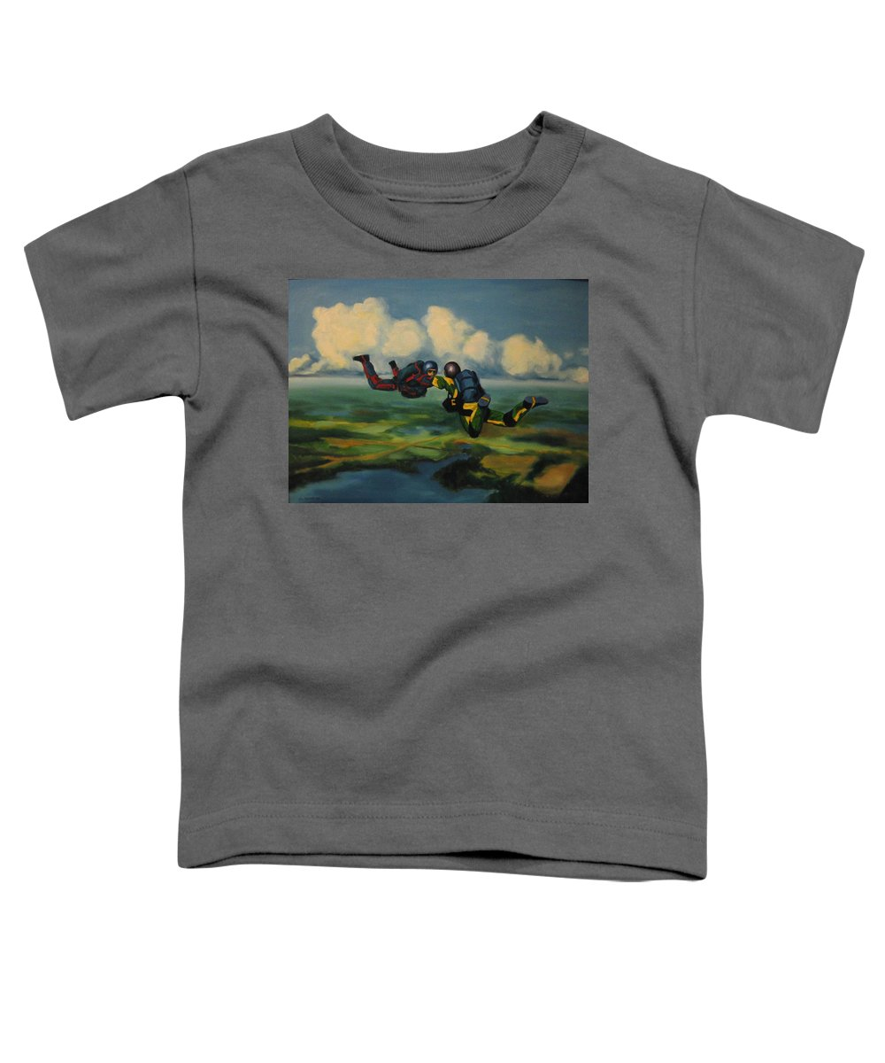 Skydivers Toddler T-Shirt featuring the painting Relative Work by John Malone