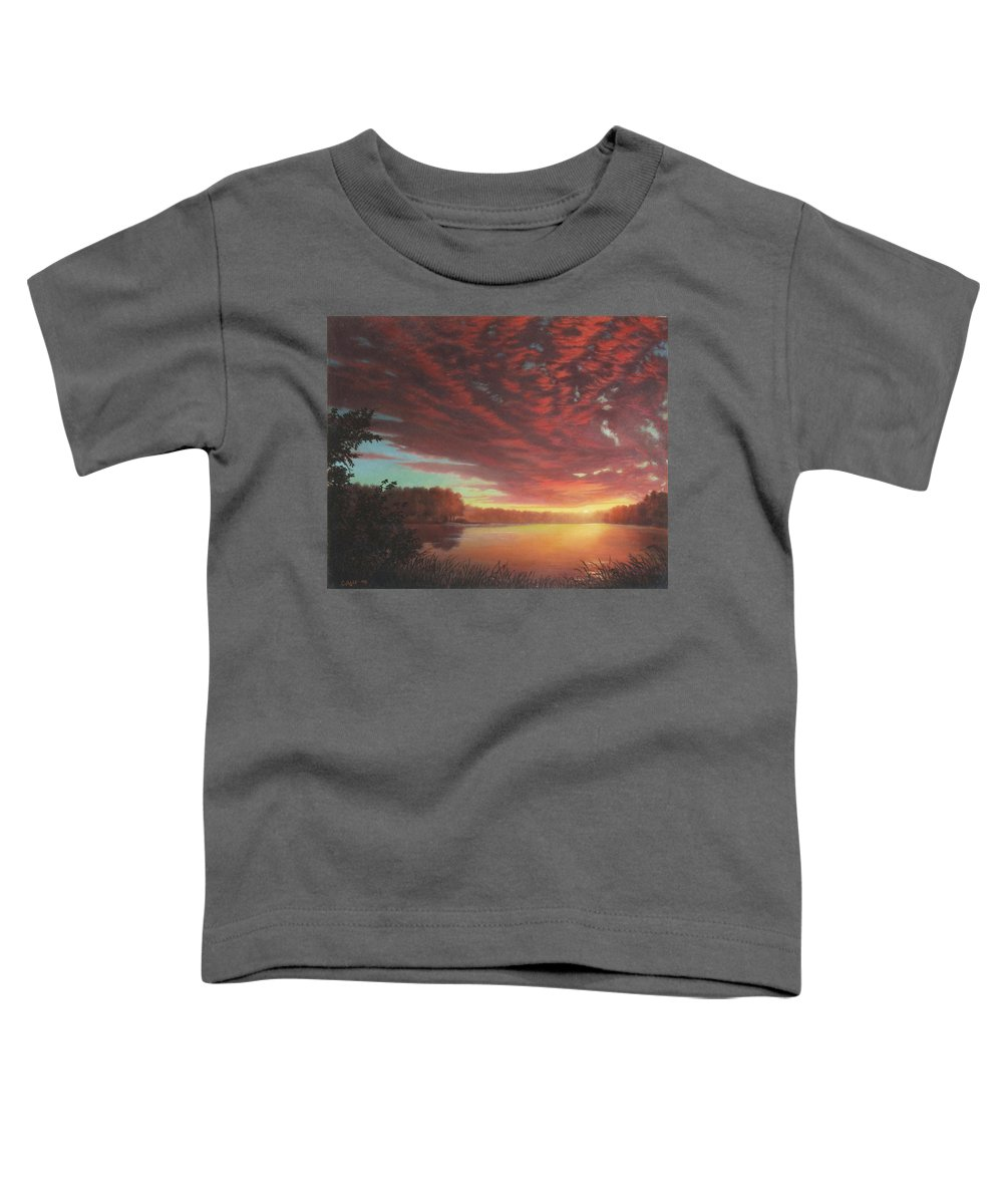Southern Toddler T-Shirt featuring the painting Riverbend Sunset Sky River Landscape Oil Painting American Yellow Pink Orange by Walt Curlee