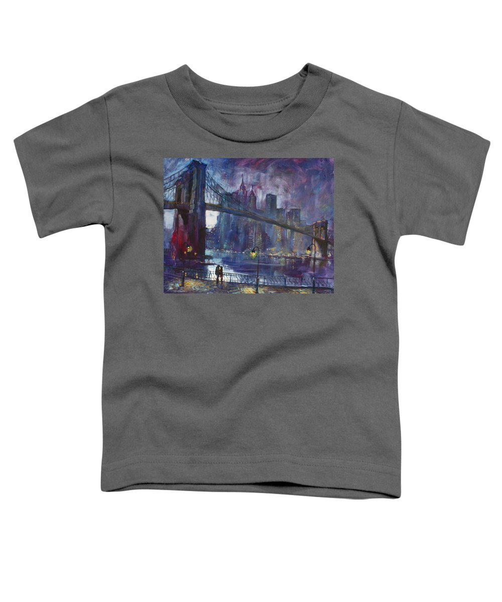 Brooklyn Bridge Toddler T-Shirt featuring the painting Romance by East River NYC by Ylli Haruni