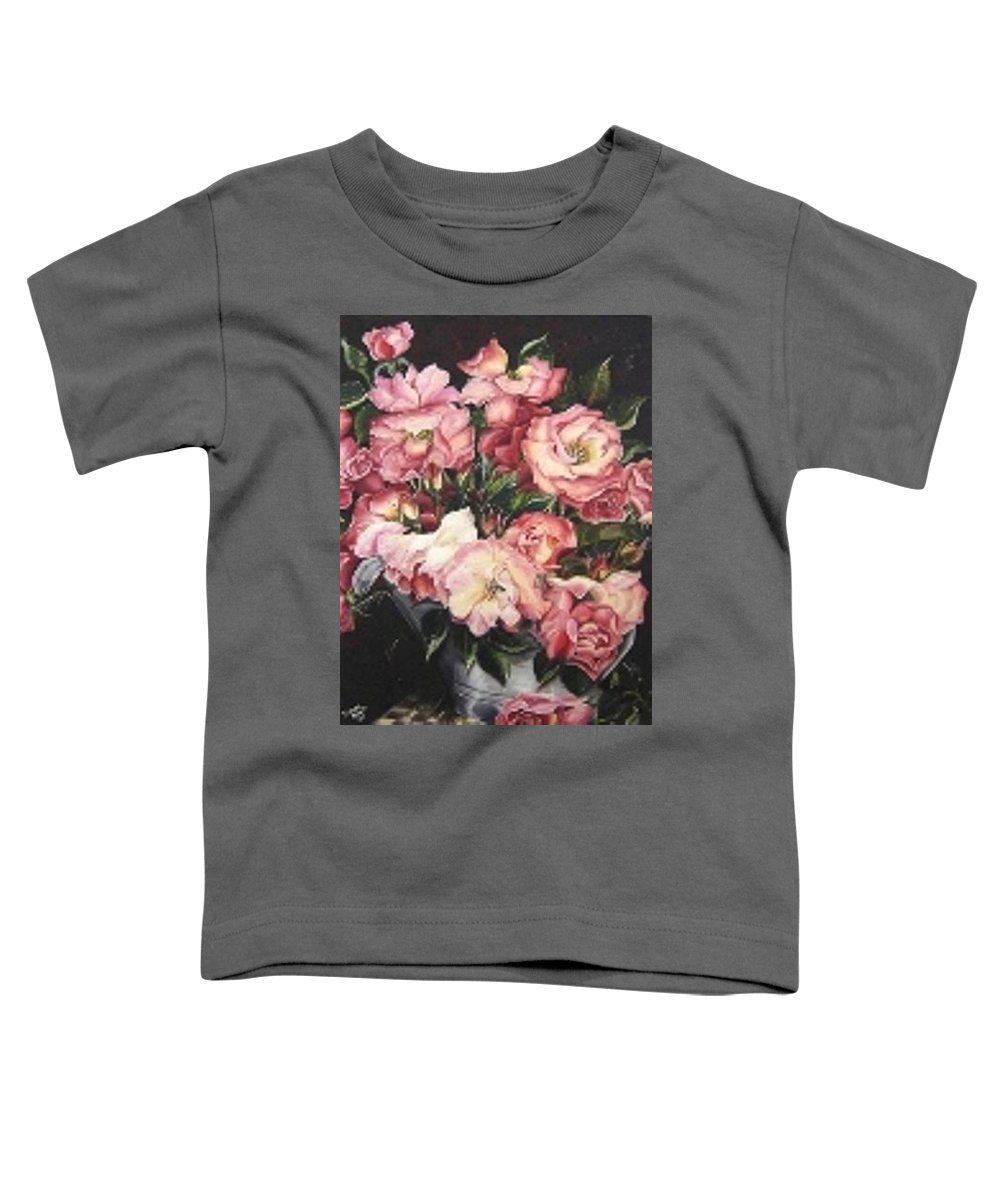 Pink Roses Floral Flowers Toddler T-Shirt featuring the painting Roses In A Watercan by Karin Dawn Kelshall- Best