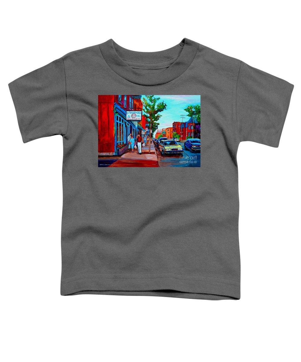 St.viateur Bagel Shop Toddler T-Shirt featuring the painting Saint Viateur Bagel Shop by Carole Spandau