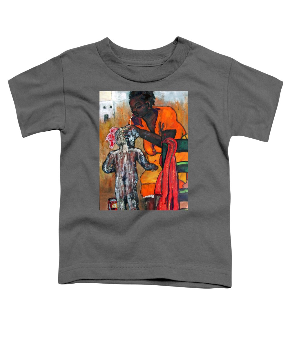 Mom Bathing Boy Toddler T-Shirt featuring the painting Saturday Night Bath by Peggy Blood