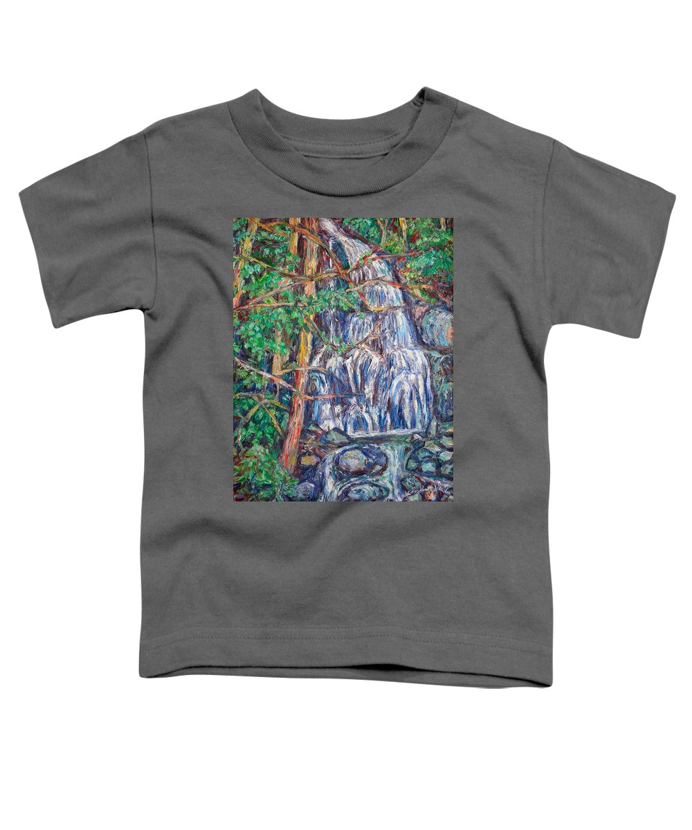 Waterfall Toddler T-Shirt featuring the painting Secluded Waterfall by Kendall Kessler