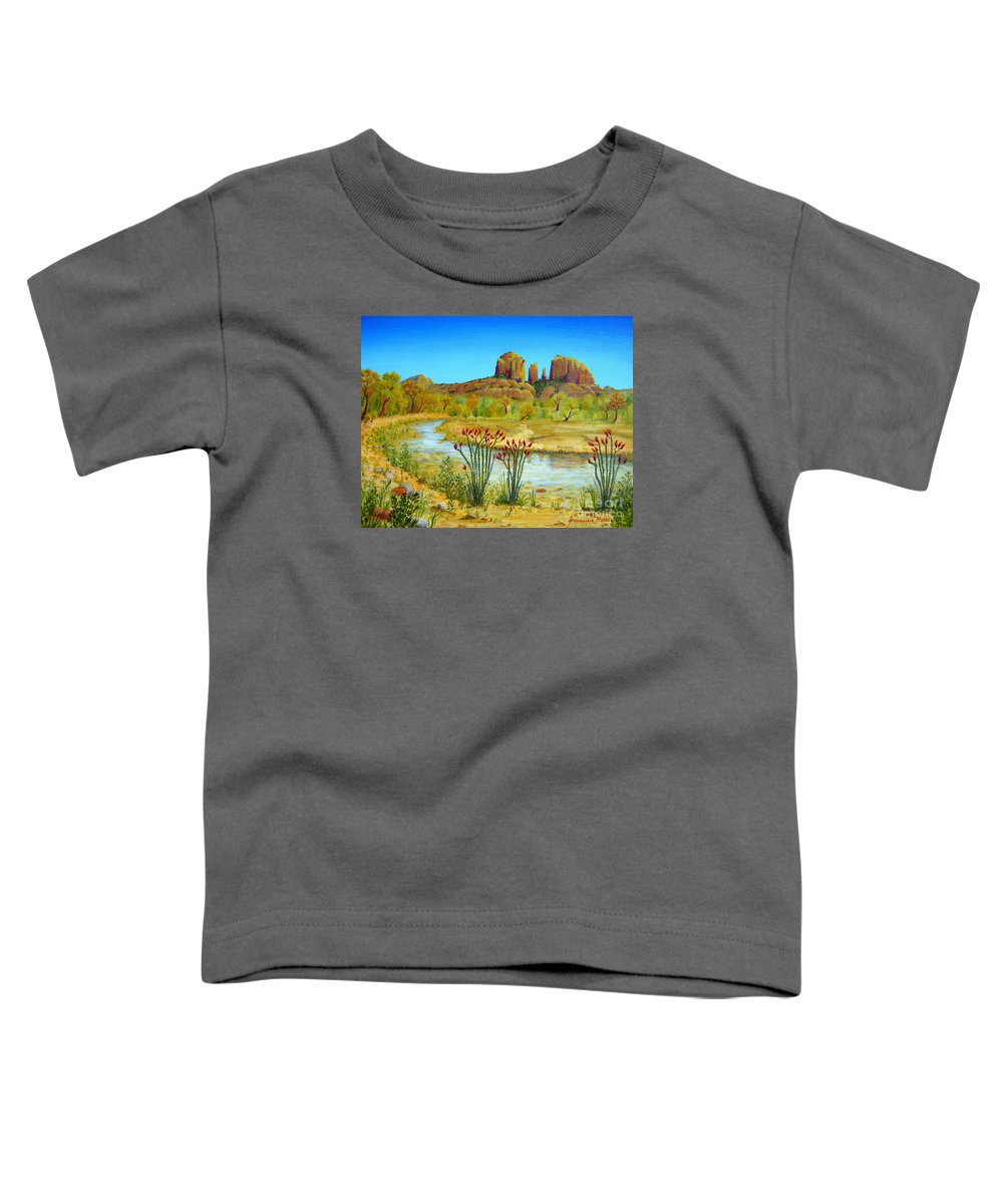 Sedona Toddler T-Shirt featuring the painting Sedona Arizona by Jerome Stumphauzer
