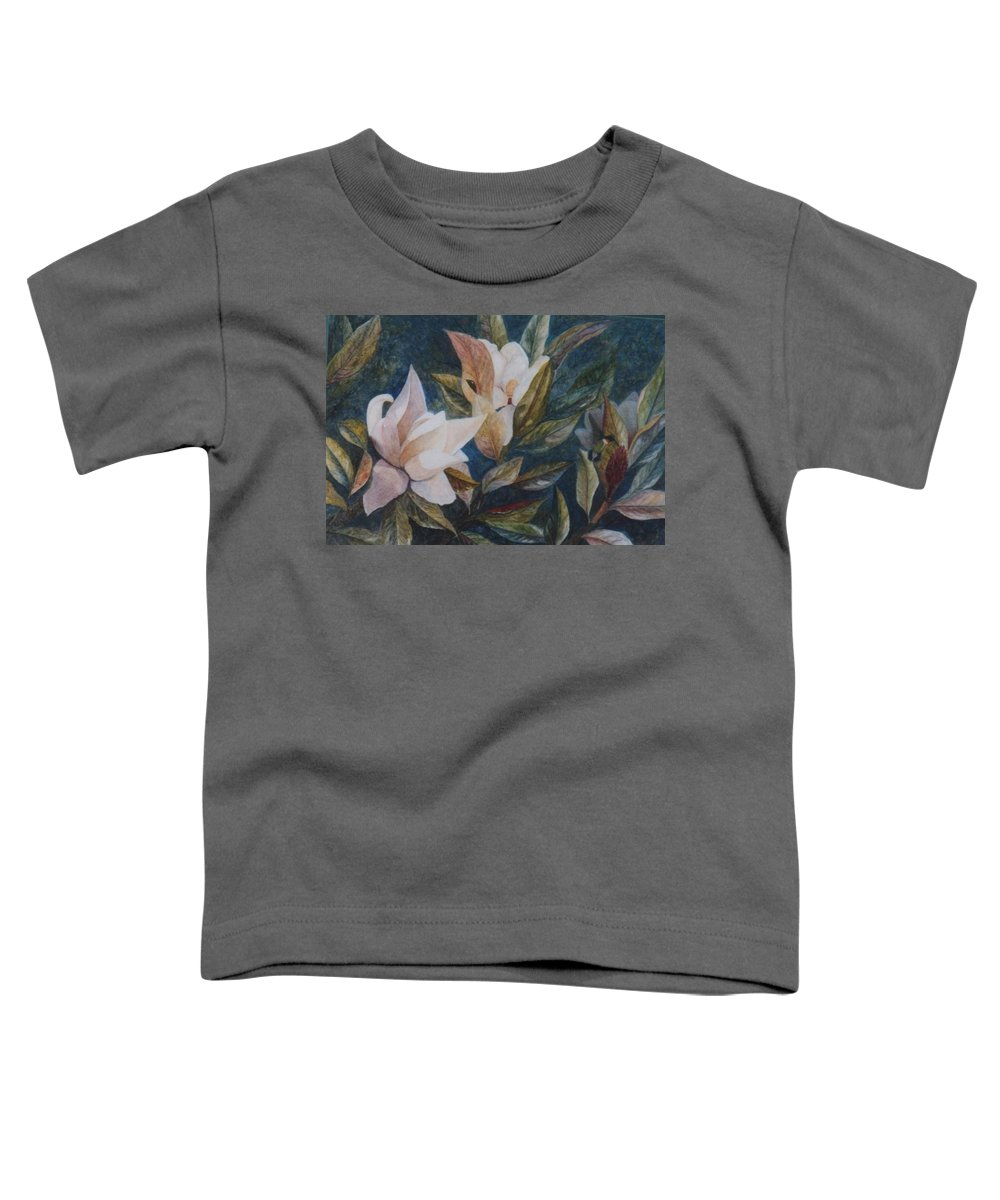 Magnolias; Humming Bird Toddler T-Shirt featuring the painting Serenity by Ben Kiger