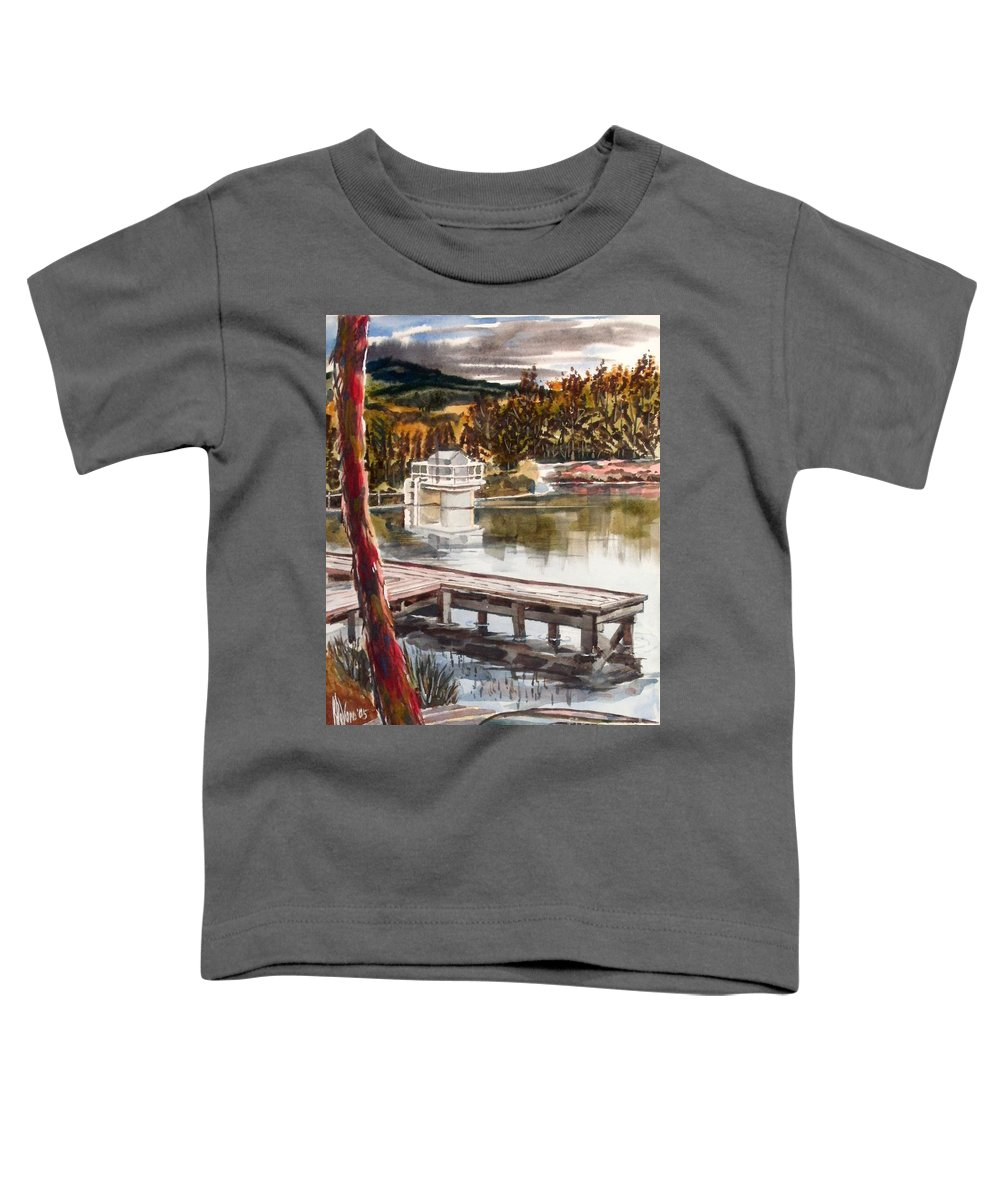 Shepherd Mountain Lake In Twilight Toddler T-Shirt featuring the painting Shepherd Mountain Lake In Twilight by Kip DeVore