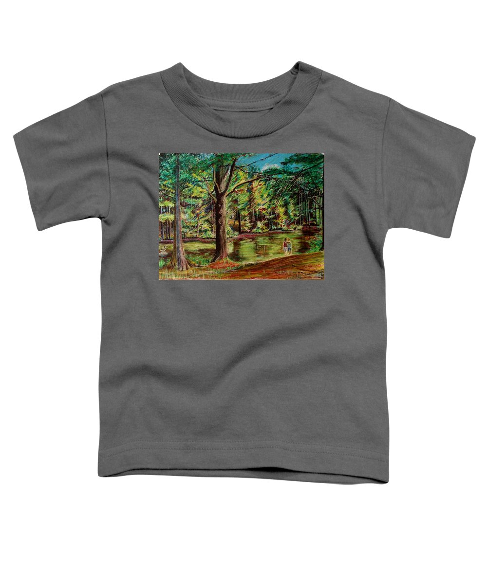 New Hampshire Toddler T-Shirt featuring the pastel Sisters At Wason Pond by Sean Connolly