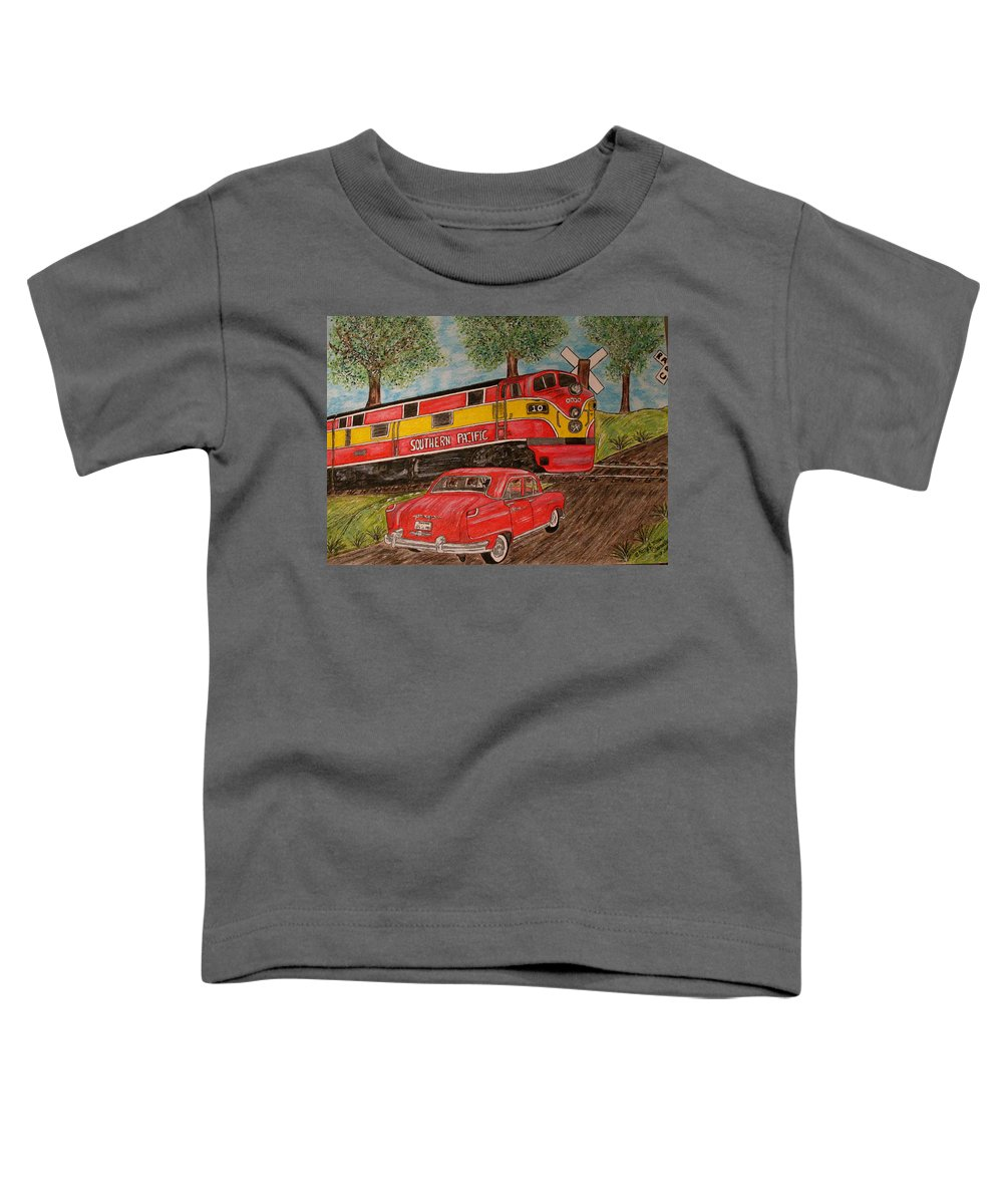 Southern Pacific Railroad Toddler T-Shirt featuring the painting Southern Pacific Train 1951 Kaiser Frazer Car Rr Crossing by Kathy Marrs Chandler