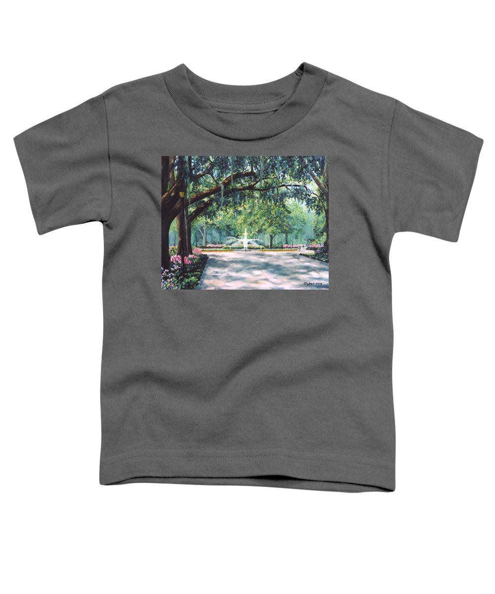 Savannah Toddler T-Shirt featuring the painting Spring In Forsythe Park by Stanton Allaben