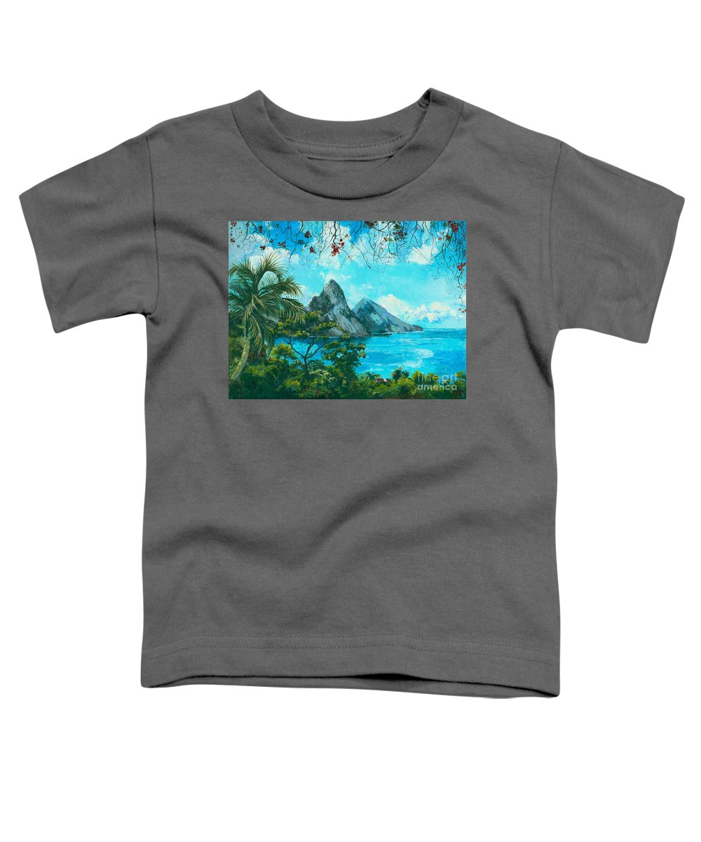 Mountains Toddler T-Shirt featuring the painting St. Lucia - W. Indies by Elisabeta Hermann