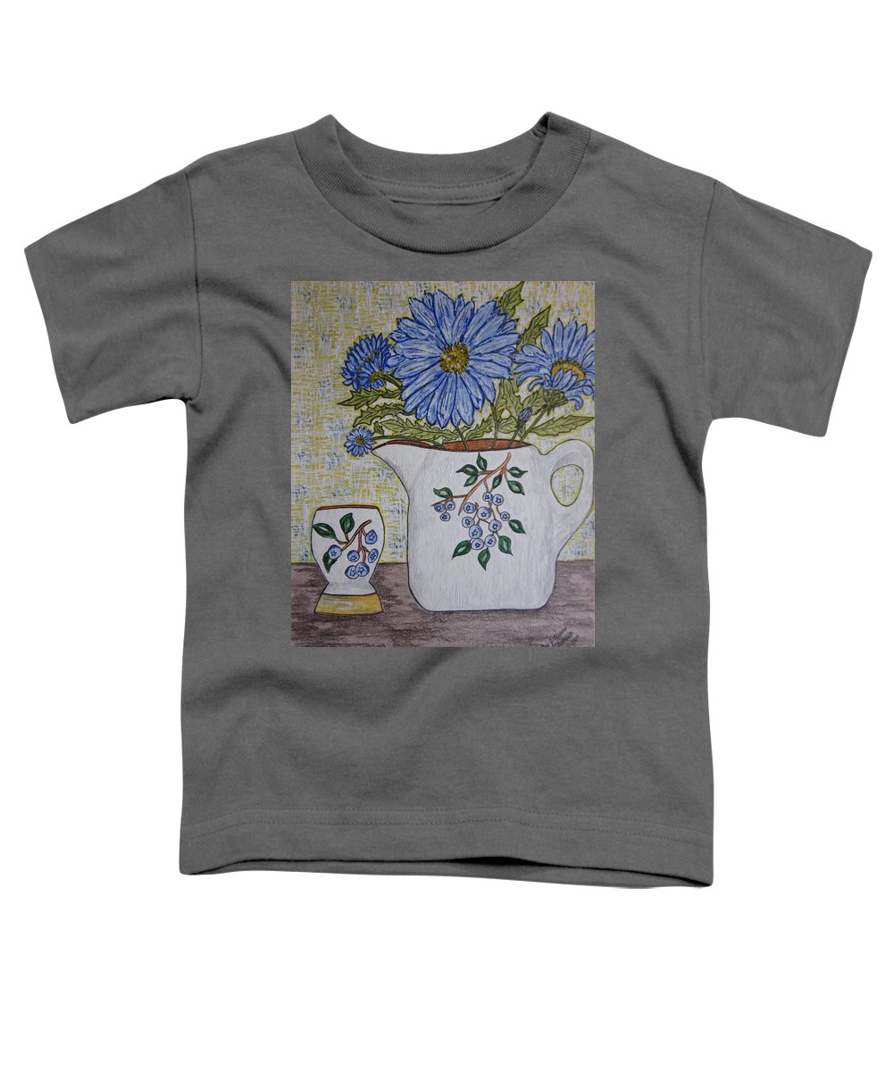 Stangl Blueberry Pottery Toddler T-Shirt featuring the painting Stangl Blueberry Pottery by Kathy Marrs Chandler