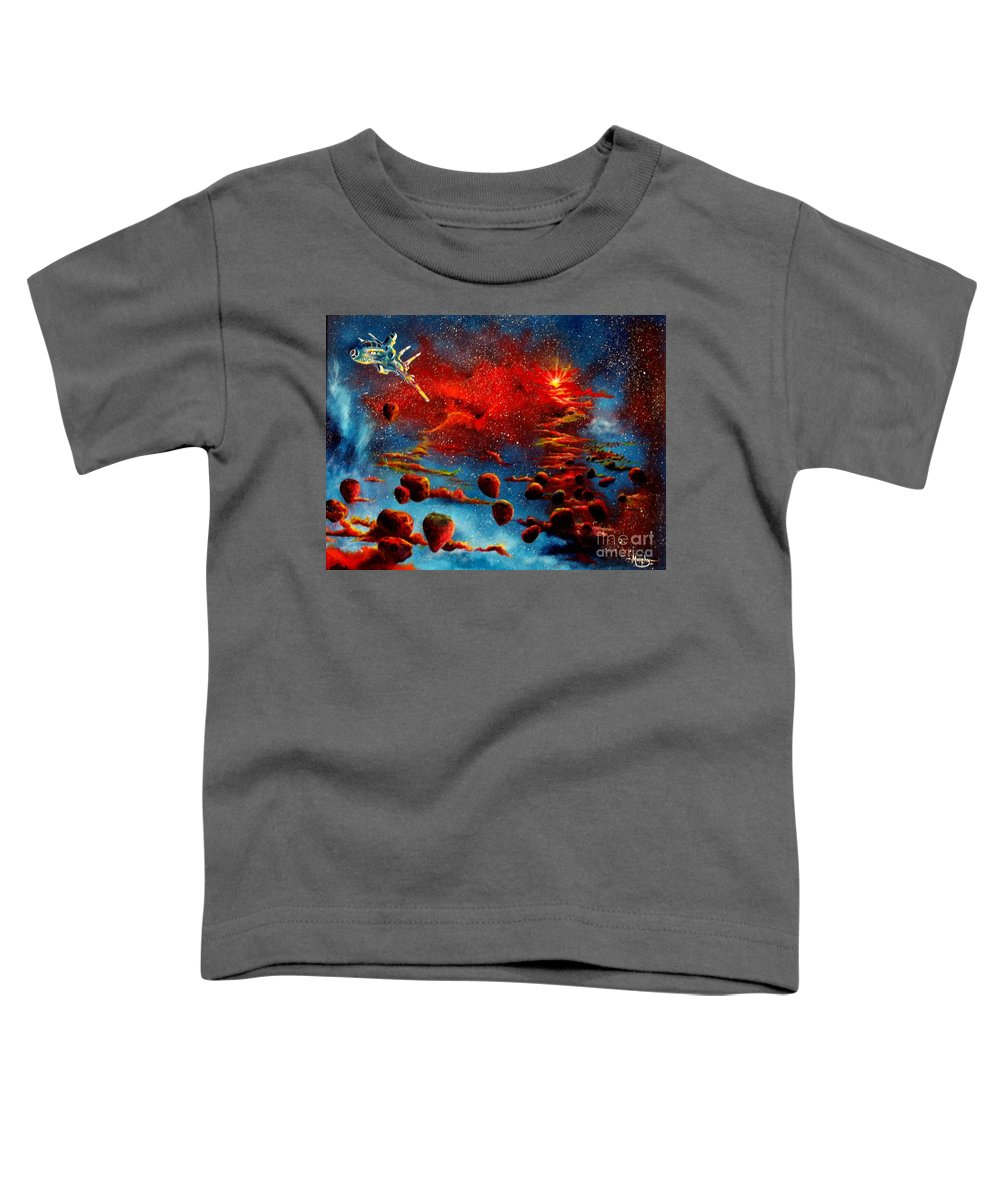 Nova Toddler T-Shirt featuring the painting Starberry Nova Alien Excape by Murphy Elliott