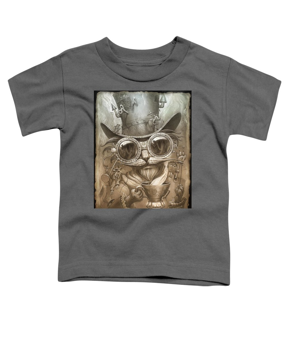 Steampunk Toddler T-Shirt featuring the painting Steampunk Cat by Jeff Haynie