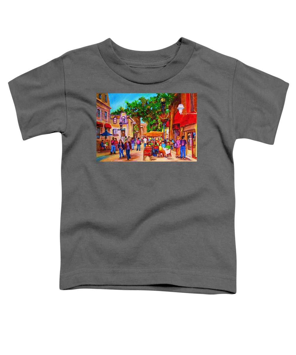 Summer Cafes Montreal Street Scenes Toddler T-Shirt featuring the painting Summer Cafes by Carole Spandau