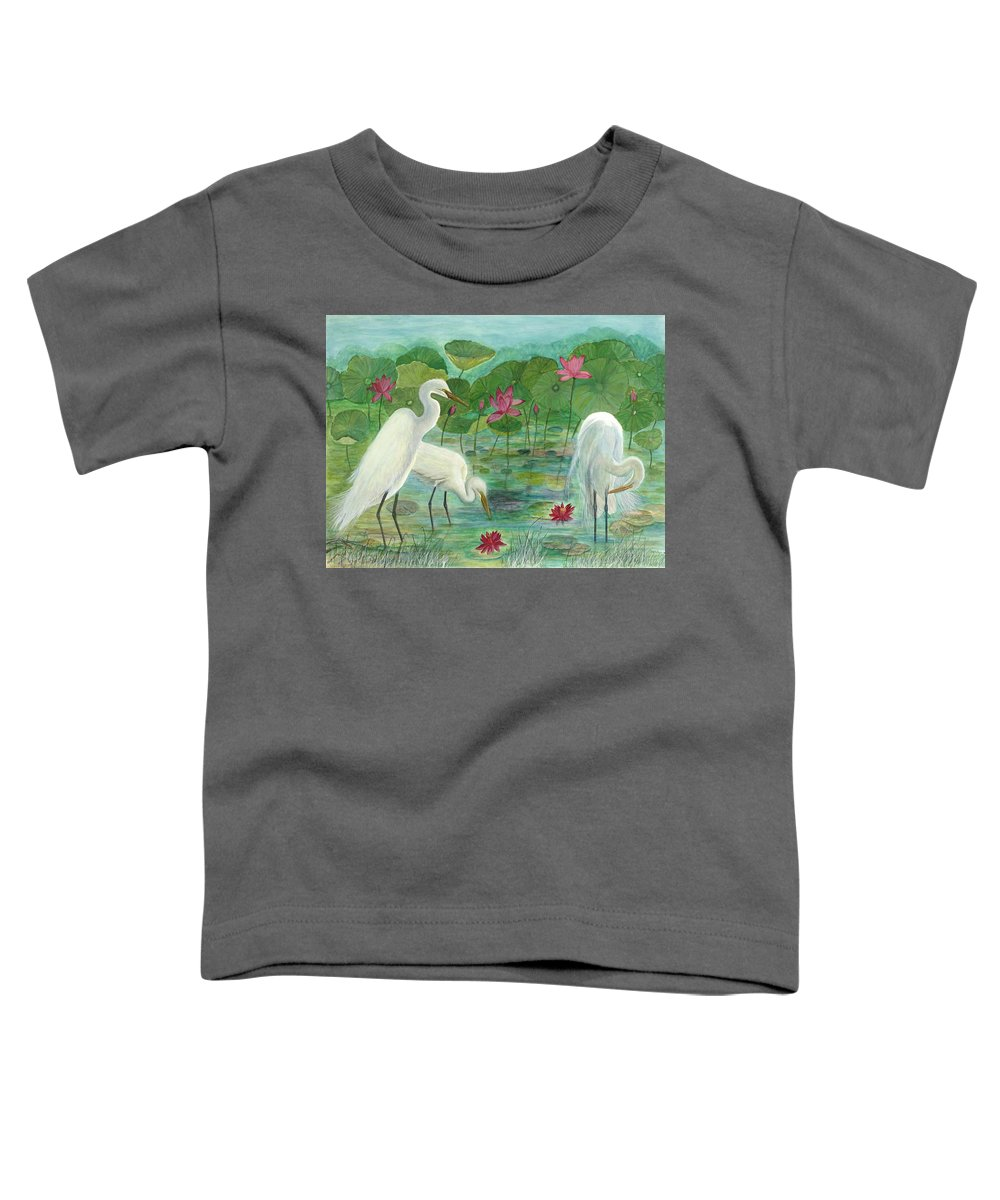 Lily Pads; Egrets; Low Country Toddler T-Shirt featuring the painting Summer Trilogy by Ben Kiger