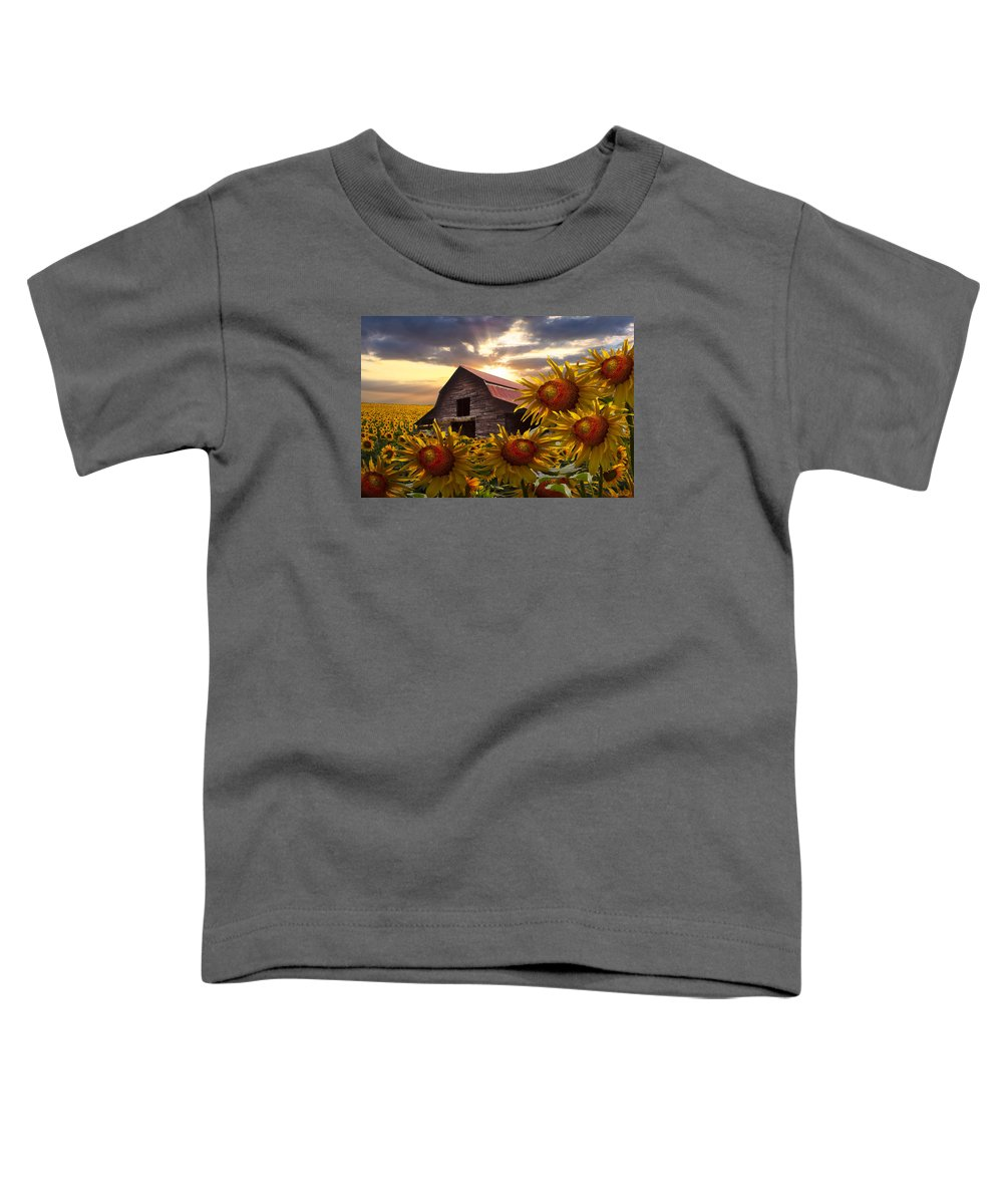 Barn Toddler T-Shirt featuring the photograph Sunflower Dance by Debra and Dave Vanderlaan