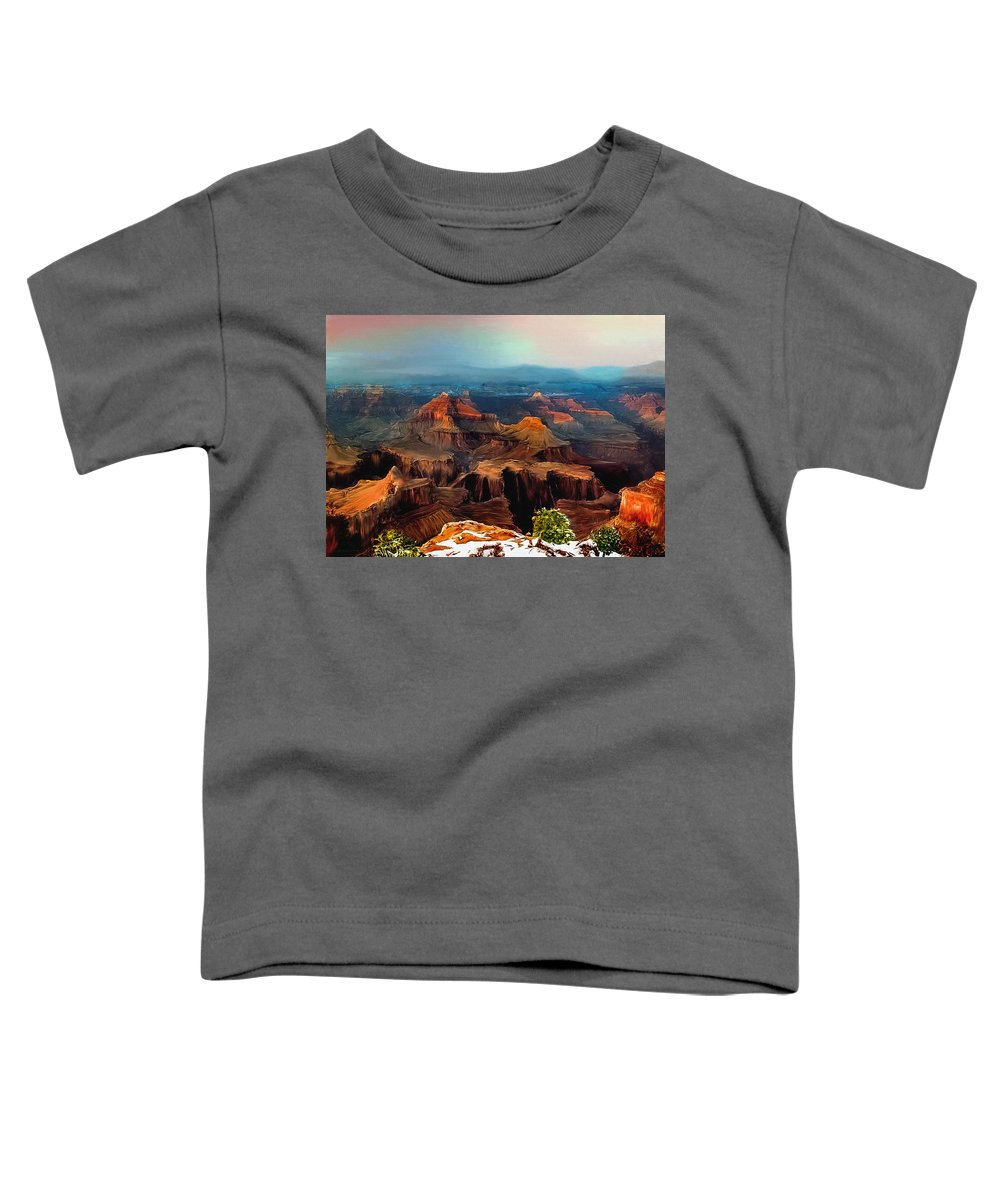 Grand Canyon Toddler T-Shirt featuring the painting Sunset Powell Memorial Grand Canyon South Rim by Bob and Nadine Johnston