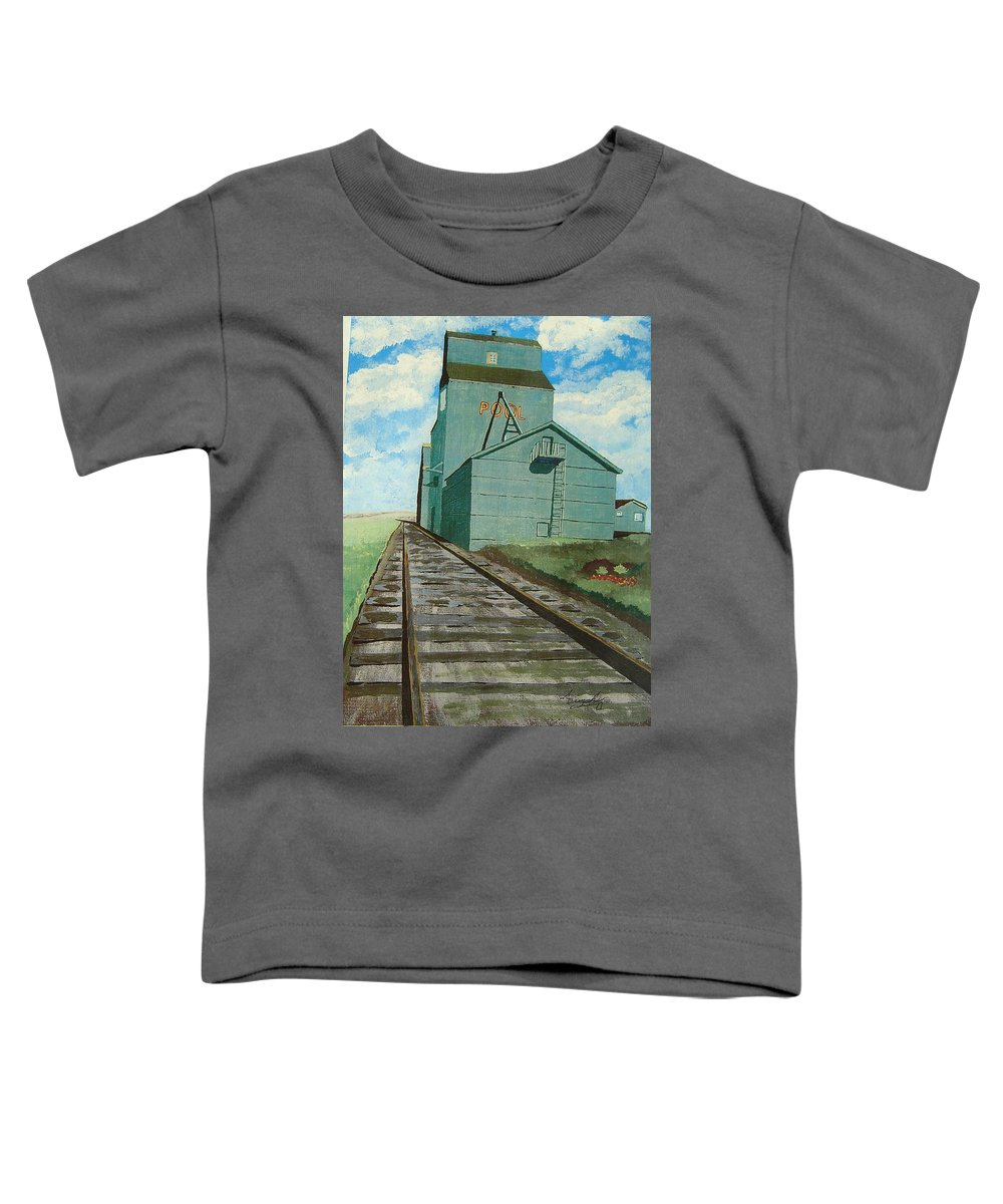 Elevator Toddler T-Shirt featuring the painting The Grain Elevator by Anthony Dunphy
