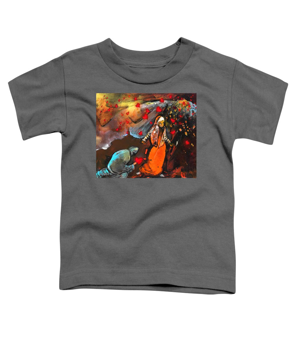 Valentine Toddler T-Shirt featuring the painting The Knight Of Your Heart by Miki De Goodaboom