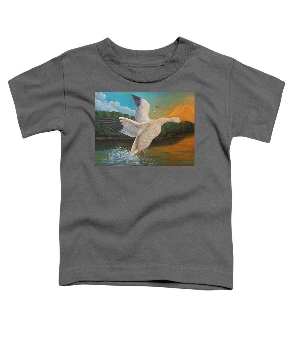 Rick Huotari Toddler T-Shirt featuring the painting The Landing by Rick Huotari