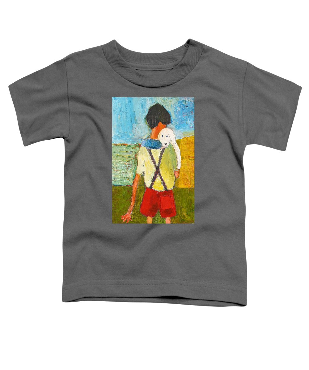 Abstract Toddler T-Shirt featuring the painting The Little Puppy by Habib Ayat