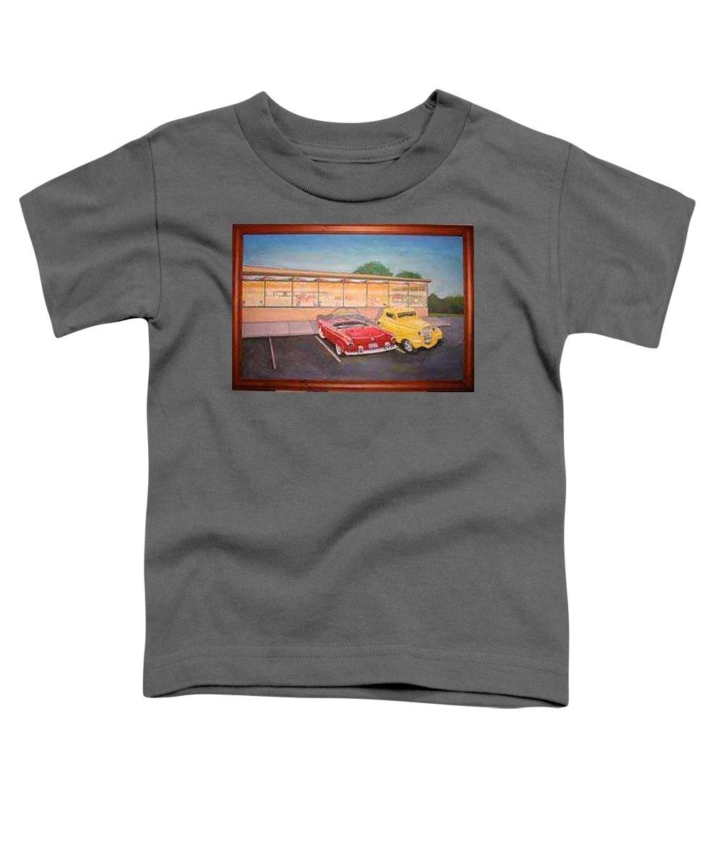 Rick Huotari Toddler T-Shirt featuring the painting Times Past Diner by Rick Huotari