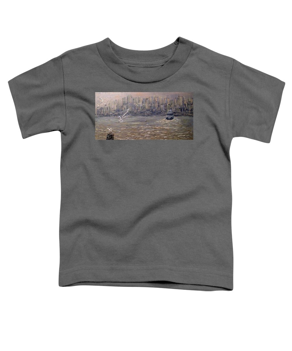 Toronto Toddler T-Shirt featuring the painting Toronto Harbor Morning by Ian MacDonald