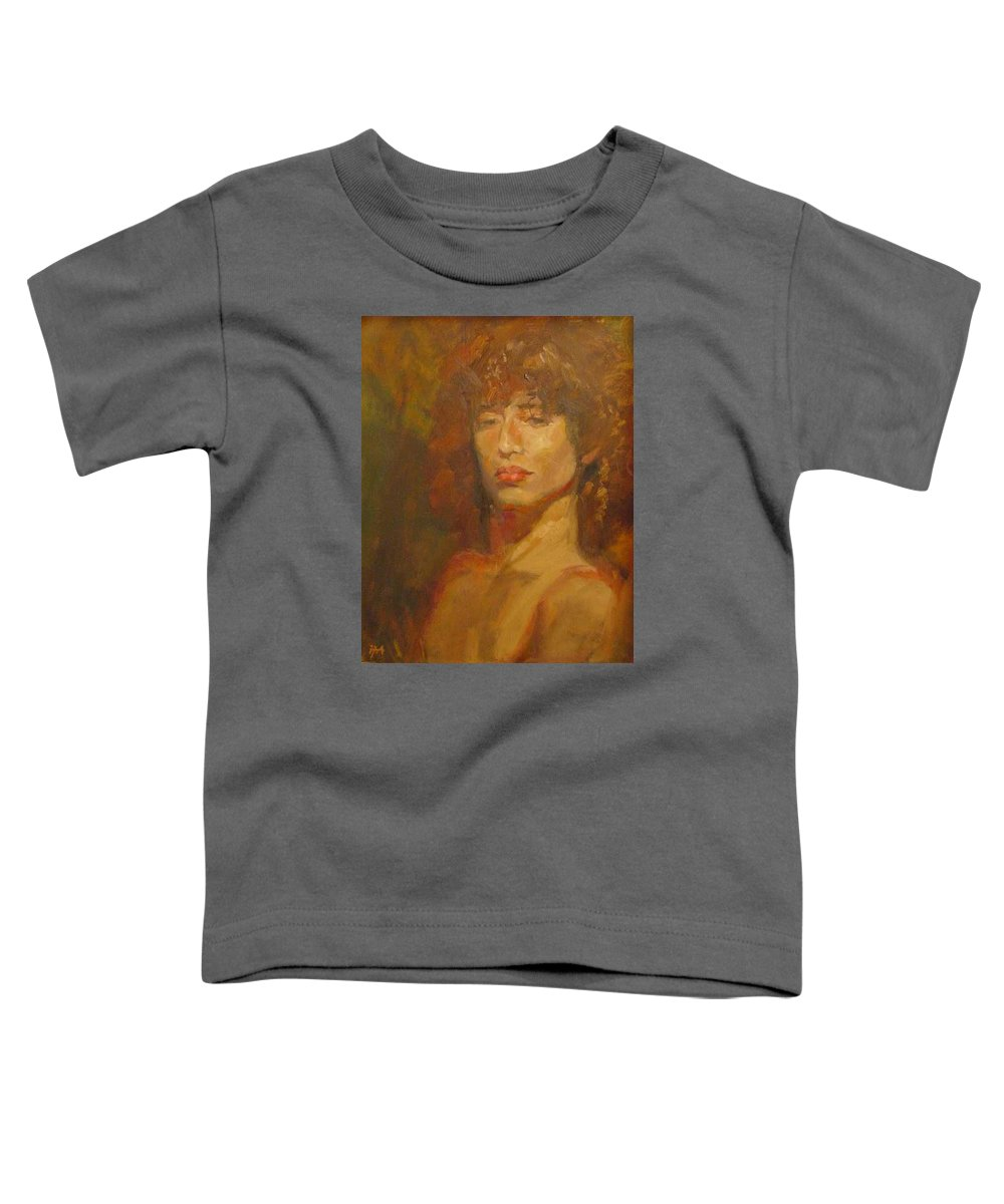 Portrait Toddler T-Shirt featuring the painting Tracy by Irena Jablonski