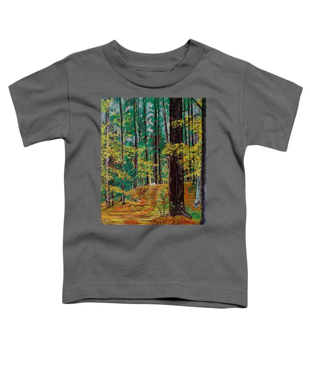 New Hampshire Toddler T-Shirt featuring the pastel Trail At Wason Pond by Sean Connolly