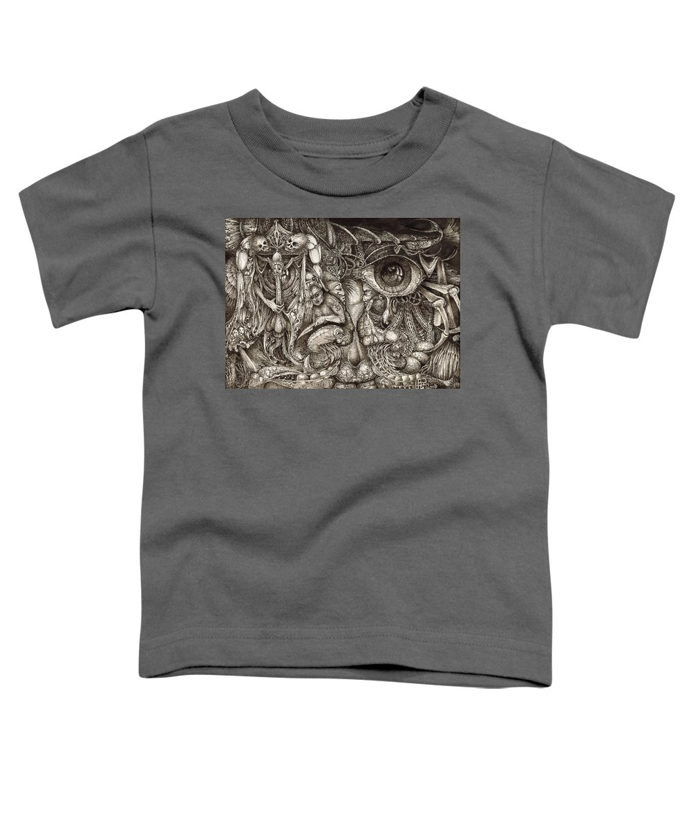 Surreal Toddler T-Shirt featuring the drawing Tripping Through Bogomils Mind by Otto Rapp